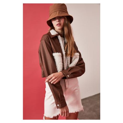 Trendyol Brown Fish Leather Plush Coat