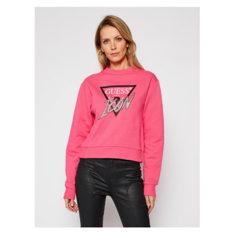 Guess Bluza Icon Fleece W1RQ04 K68I0 Różowy Regular Fit