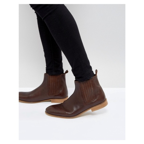 ASOS Chelsea Boots In Brown Leather with Natural Sole