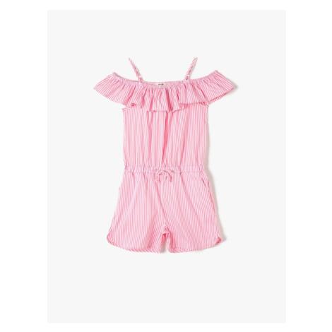 Koton Pink Striped Girls' Jumpsuit
