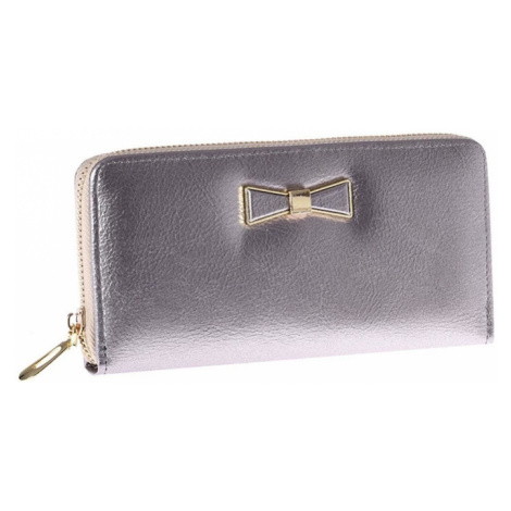 Silver oblong wallet with a zipper with a bow