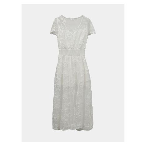 Biała koronkowa sukienka midi TALLY WEiJL