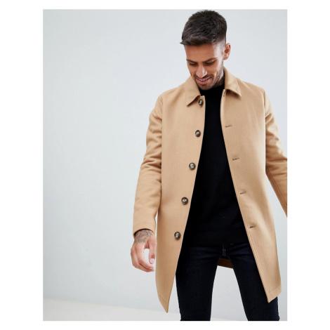 ASOS DESIGN wool mix trench coat in camel