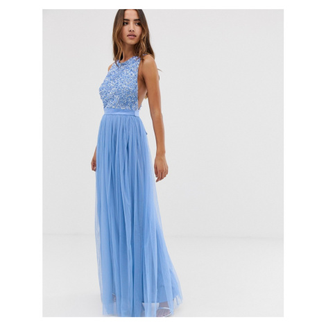 Maya delicate sequin bodice maxi dress with cross back bow detail in bluebell