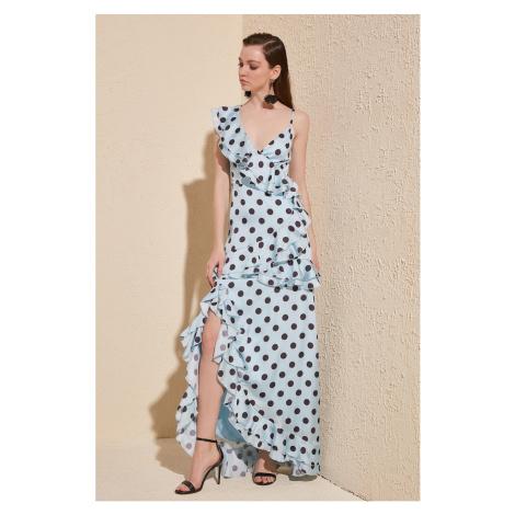 Suknia wieczorowa z nadrukiem Trendyol Blue Polka & Sukienka na zakończenie
