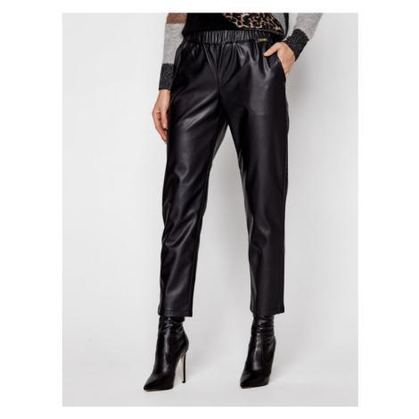 TwinSet Spodnie skórzane 202LI2GDD Czarny Regular Fit