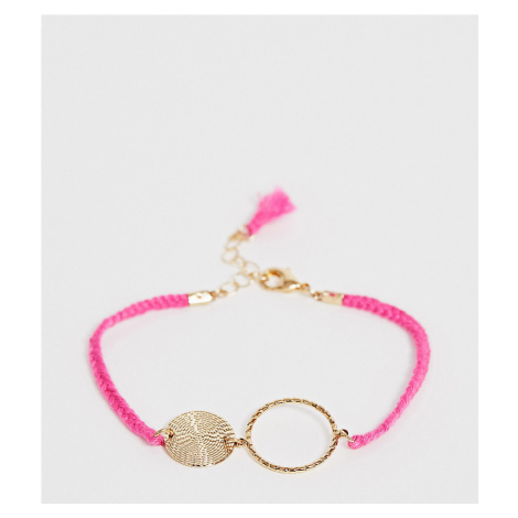 ASOS DESIGN Curve cord bracelet with open circle and hammered disc in pink
