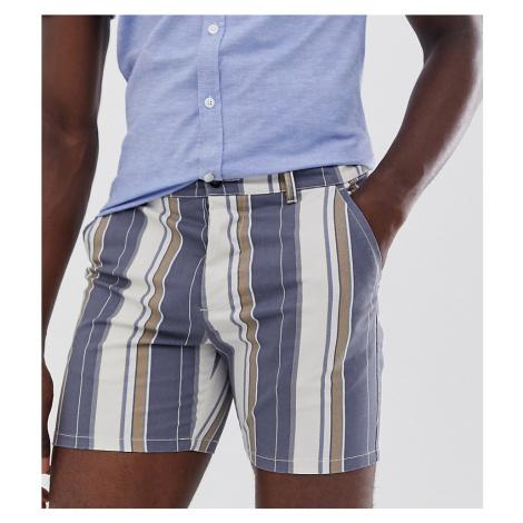 ASOS DESIGN Tall skinny shorter shorts in washed stripe