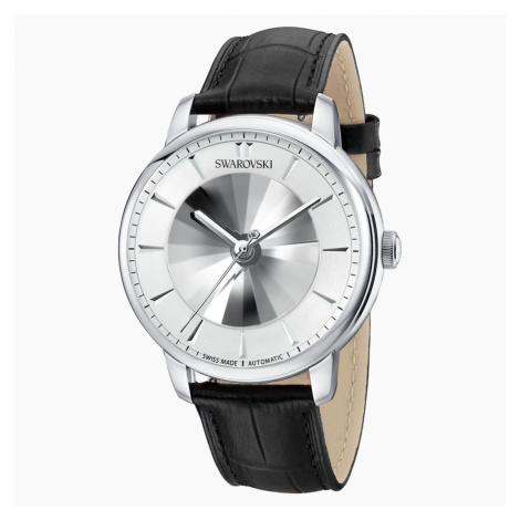 Męski zegarek automatyczny Atlantis z limitowanej edycji, pasek ze skóry, biały, stal nierdzewna Swarovski