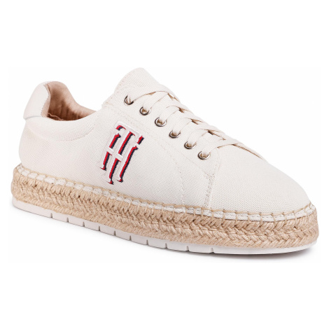 Espadryle TOMMY HILFIGER - Nautical Th Lace Up Espadrille FW0FW04749 Ivory YBI