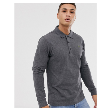 Lacoste logo long sleeve polo in charcoal marl