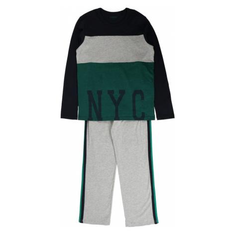 SCHIESSER Piżama nakrapiany szary / zielony