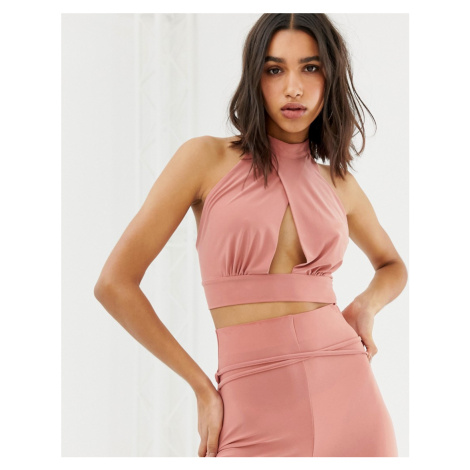Love halterneck cropped top with tie back