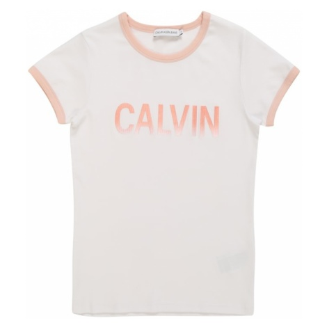 Calvin Klein Jeans Koszulka '1X1 RIB CALVIN SLIM TEE' różowy pudrowy / biały