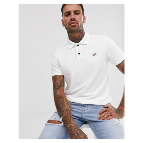 Hollister icon logo heritage slim fit pique polo in white