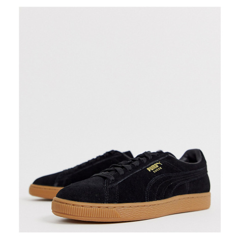 Puma Suede trainers in black with gum sole Exclusive at ASOS