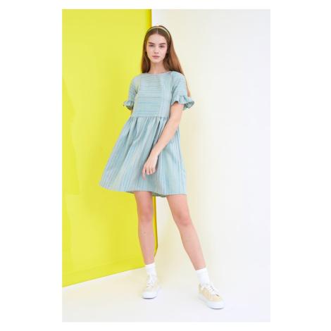 Suknia w paski trendyol mint