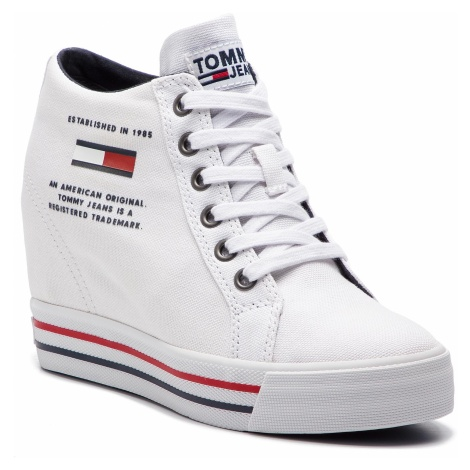 Sneakersy TOMMY JEANS - Wedge Casual Sneaker EN0EN00543 White 100 Tommy Hilfiger