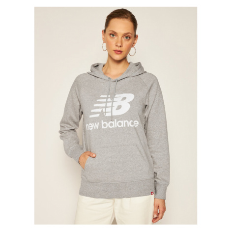 New Balance Bluza Esse po Hoodie NBWT0355 Szary Relaxed Fit