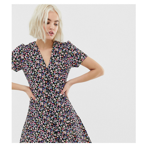 New Look tea dress with lattice back in ditsy floral