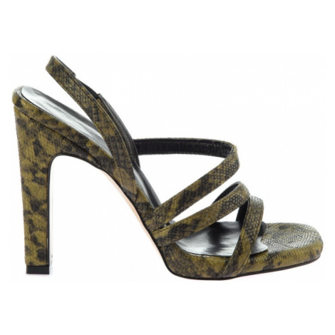 Trendyol Khaki Snake-Patterned Women's Wedge-Heeled Shoes