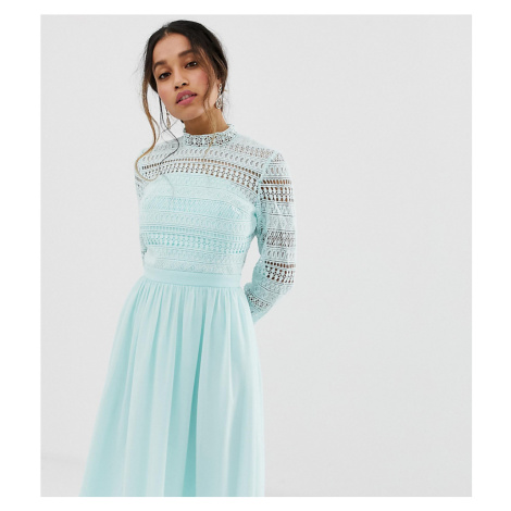 Chi Chi London Petite long sleeve lace dress with pleated skirt in mint