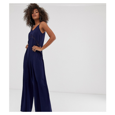 Outrageous Fortune Tall lace insert wide leg jumpsuit in navy