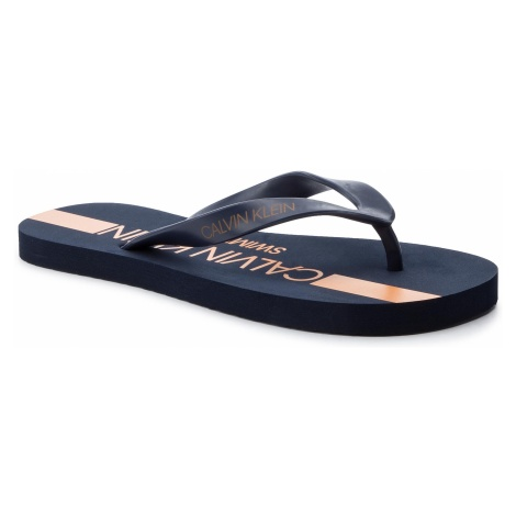 Japonki CALVIN KLEIN SWIMWEAR - Ff Sandals KM0KM00344 Blue Shadow 470