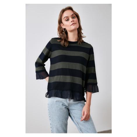 Bluza z dzianinami Trendyol Navy Organze Szczegółowe swetry Color Block Knitwear