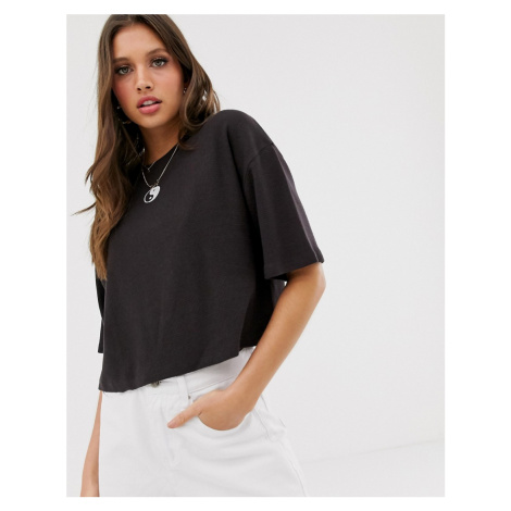 ASOS DESIGN cropped waffle t-shirt with yin yang embroidery in wash
