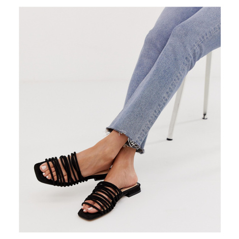 Miss Selfridge multi strap flat sandals in black