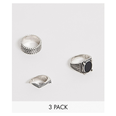 ASOS DESIGN fashion ring pack with stone in burnished silver