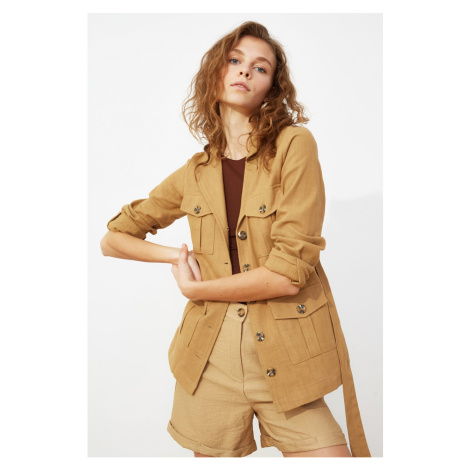 Trendyol Camel Belt Pocket Linen Looking Cotton Jacket