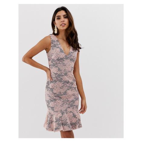 Vesper contrast floral frill skirt bodycon dress