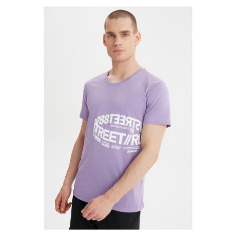Modny Lila Męski t-shirt Trendyol