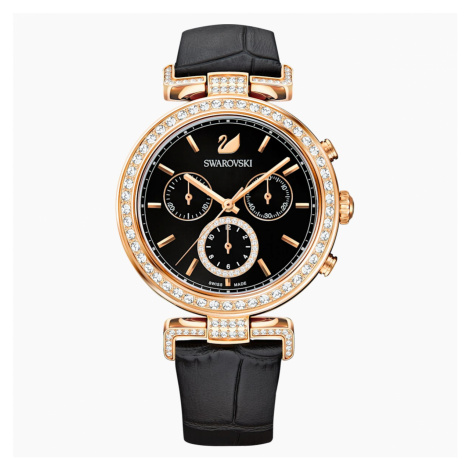 Zegarek Era Journey, pasek ze skóry, czarny, powłoka PVD w odcieniu różowego złota Swarovski