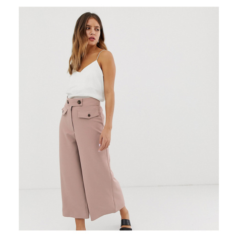 New Look crop culotte trousers with button detail in mid pink