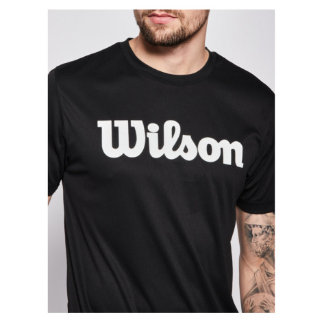 Wilson Koszulka techniczna Uwii Script Tech Tee WRA770306 Czarny Regular Fit