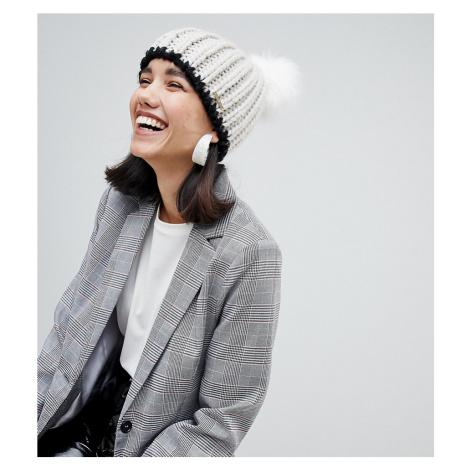 River Island double pom beanie hat