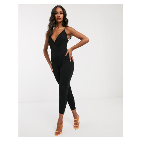 PrettyLittleThing cami strap jumpsuit with cross back in black
