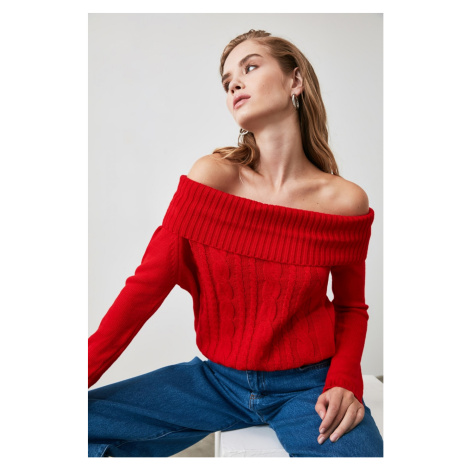 Trendyol Red Hair Braided Knit Sweater