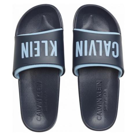 Calvin Klein niebieskie klapki męskie Slide