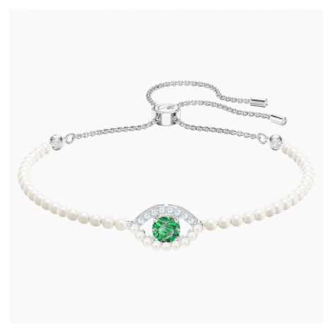 Luckily Bracelet, Green, Rhodium plated Swarovski
