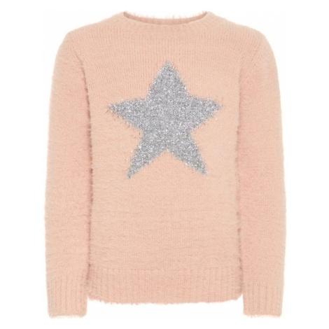 NAME IT Sweter różowy pudrowy / srebrny