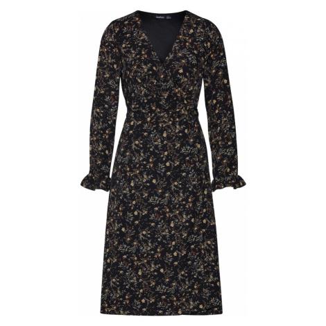 Boohoo Sukienka koszulowa 'Floral Wrap Maxi' offwhite / czarny