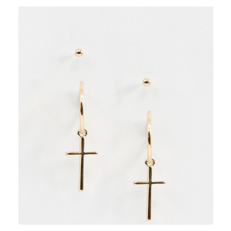ASOS DESIGN cross drop earring with stud in gold tone