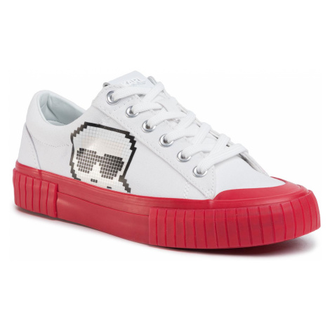 Sneakersy KARL LAGERFELD - KL60213 White Canvas W/Red