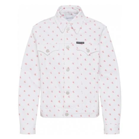 Calvin Klein Jeans Kurtka przejściowa 'Foundation Trucker' czerwony / biały