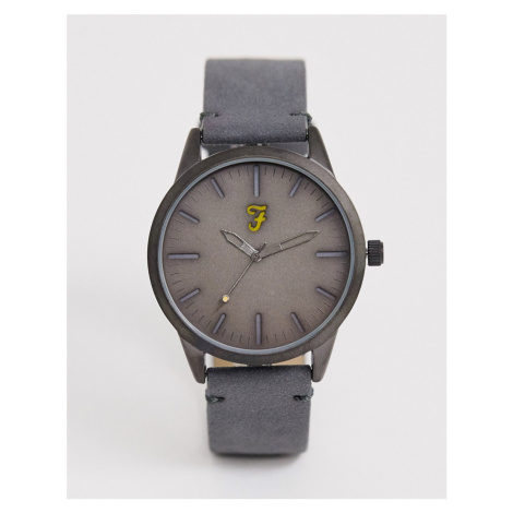 Farah leather watch in grey