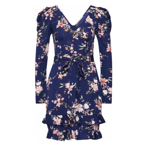 Boohoo Sukienka 'Rouched Sleeve Floral Tea Dress' granatowy